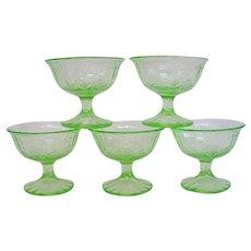 Green Depression Glass Sherbets Single Rose Design