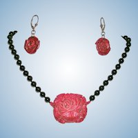 Lovely Black Onyx and Carved Red Sea Sponge Rose Necklace and Earrings