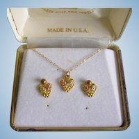 Delicate Hearts 10K Black Hills Gold Necklace And Earring Set