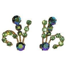 Attractive Austrian Blue Green Rhinestone Clip Earrings