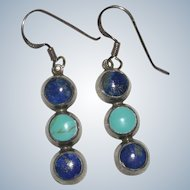 Sterling Silver Turquoise and Lapis Dangle Earrings