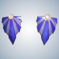 Exotic Blue Enamel Earrings by Isle of Skye