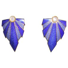 Exotic Blue Enamel Earrings by Isle of Skye