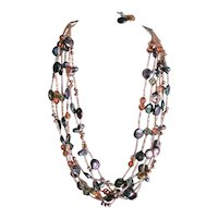 Superb Freshwater Baroque Coin Pearl 6 Strand Necklace