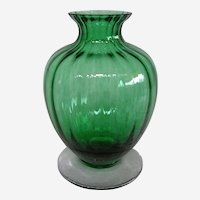 Baccarat France Emerald Green Aquarelle Vase with Box