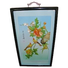 Chinese 3D Carved Jade Shell Shadowbox Art with Birds Flowers - Red Tag Sale Item