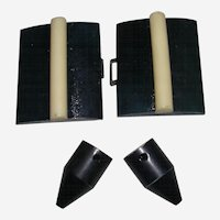 Black with White Bakelite Belt Fasteners with Unusual Tips for Repurposing