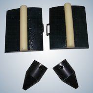 Black with White Bakelite Belt Fasteners with Unusual Tips for Repurposing
