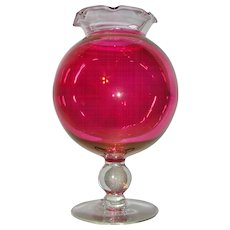 Cranberry and Clear Glass Stemmed Rose Bowl