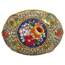 Micro Mosaic Floral Brooch Pin