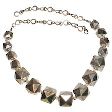 """Unique Modernist Polyhedron Bead and Chain Link 21"""" Necklace"""