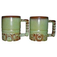Frankoma Pottery Mayan Aztec Design Prairie Green Coffee Mugs C4