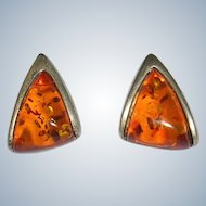 Free Form Baltic Amber Sterling Earrings