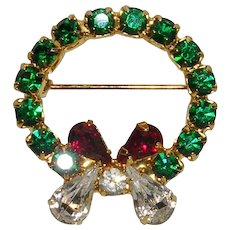 Green Rhinestone Wreath Pin with Red and White Bow