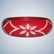 Vintage Carved Celluloid Bangle Bracelet