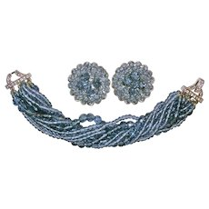Signed Marvella Sapphire Blue Crystal and Rhinestone Bracelet and Clip Earrings