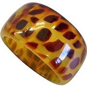 Wide Transluscent Butterscotch Lucite Leopard Spots Bangle