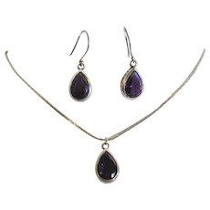 Sterling Silver Pear Shaped Amethyst Earring and Necklace Set