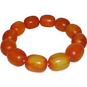 Vintage Pumpkin Colored Stretch Beaded Bracelet