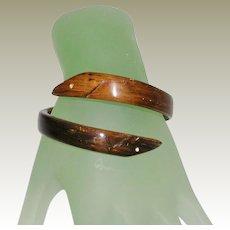 Vintage Wood Carved Snake Design Crossover Bracelet