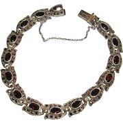 Garnet and Marcasite Sterling Silver Link Bracelet