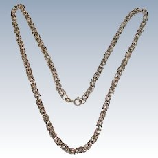 "18"" Textured Sterling Silver Byzantine Chain"