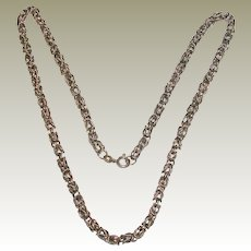 "18"" Textured Sterling Silver Byzantine Chain"
