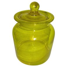 Canary Yellow Ground Glass Stoppered Canister