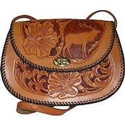 Elk Design Hand Tooled Leather Purse