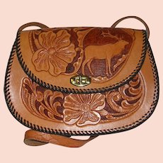 Elk Design Hand Tooled Leather Purse
