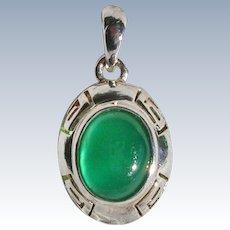 Sterling Silver Green Chrysoprase Greek Key Pendant