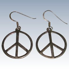 1960's Sterling Silver Peace Sign Earrings