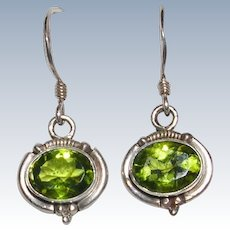 Sterling Silver Peridot Earrings FREE USA SHIPPING
