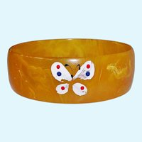 Translucent Butterscotch Egg Yolk Bakelite Bracelet with Painted Butterfly