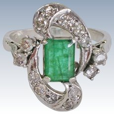 Estate Natural Emerald and Diamond 10K White Gold Ring