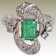 Estate Natural Emerald and Diamond 10K White Gold Ring