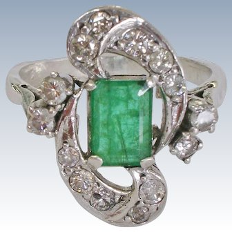 Estate Natural Emerald and Diamond 10K White Gold Cocktail Ring