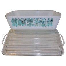 Rare PYREX Butterprint Refrigerator Dish with Lid