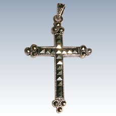 Marcasite and Sterling Silver Cross Pendant