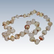Vintage Earthtones Banded Agate Bead Necklace