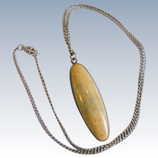 Early 20th Cent. Jasper Sterling Pendant and Curb Necklace