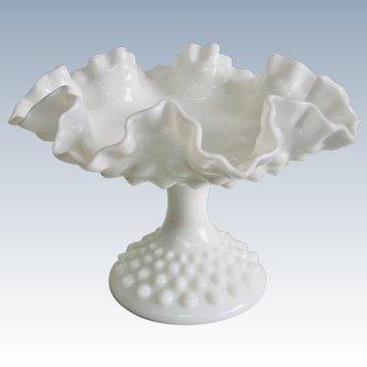 Fenton White Milk Glass Hobnail Ruffled Compote
