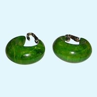 Chunky Marbled Spinach Green and Yellow Bakelite Hoops