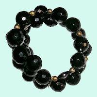 Vintage Memory Wire Faceted Black Plastic Bracelet