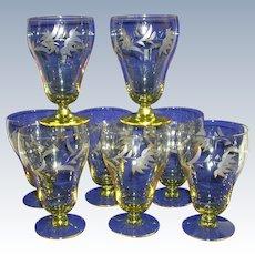 Stunning Lancaster Glass Topaz Water Glasses Set of 8