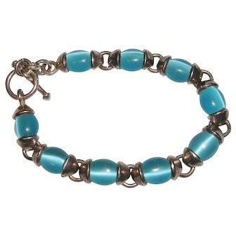 Ocean Blue Cat's Eye Sterling Silver Bracelet Mexico