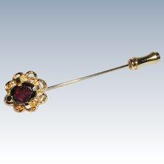 Pretty Goldtone Stick Pin Garnet Colored Stone