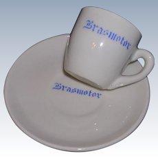 1950's Brazilian Porcelain Espresso Cup & Saucer Brasmotor