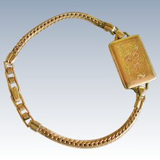 Vintage Sturdy Jewelry 12K GF Etched Locket Bracelet