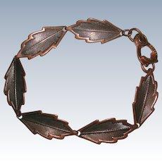 Vintage Copper Leaf Link Bracelet